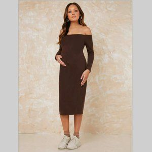 NWT Maternity dress brown bodycon off shoulder